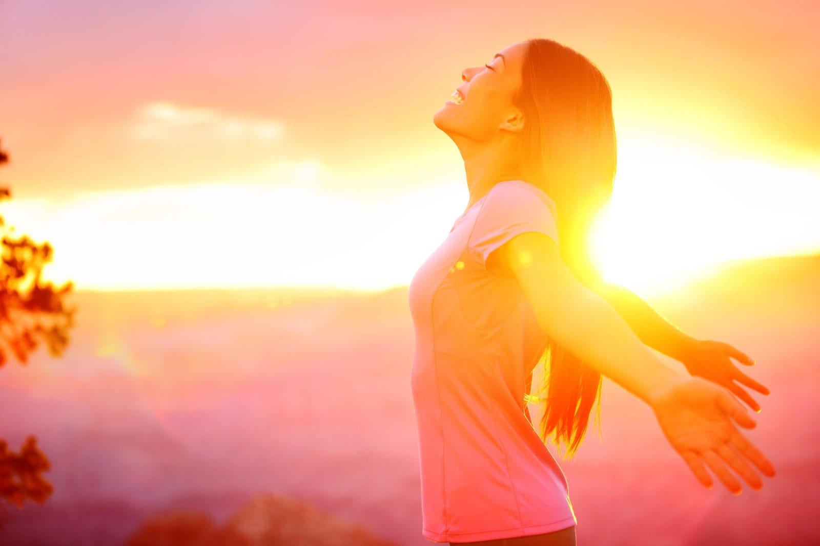 enjoying nature sunset