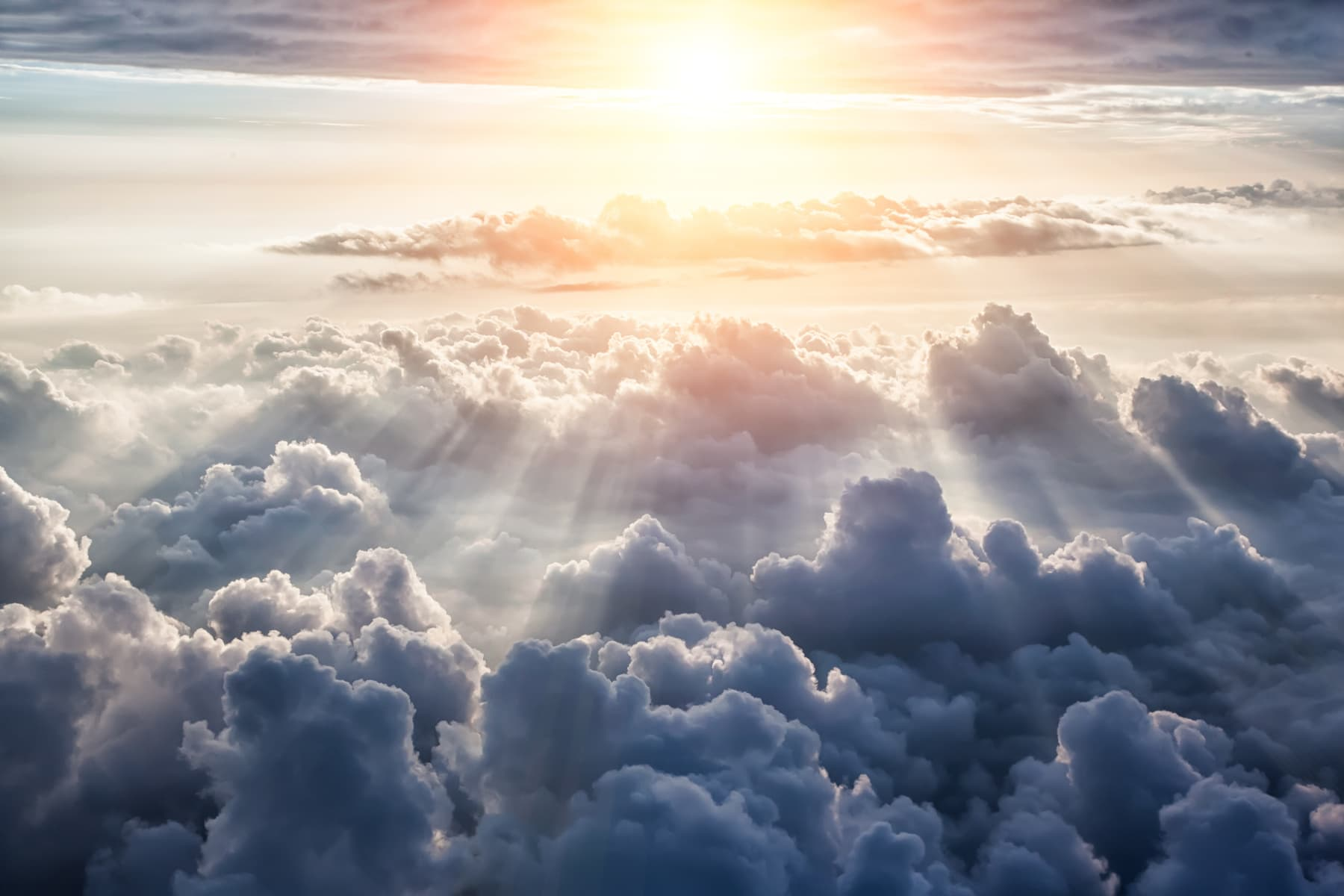 Beautiful blue sky background with clouds and sun