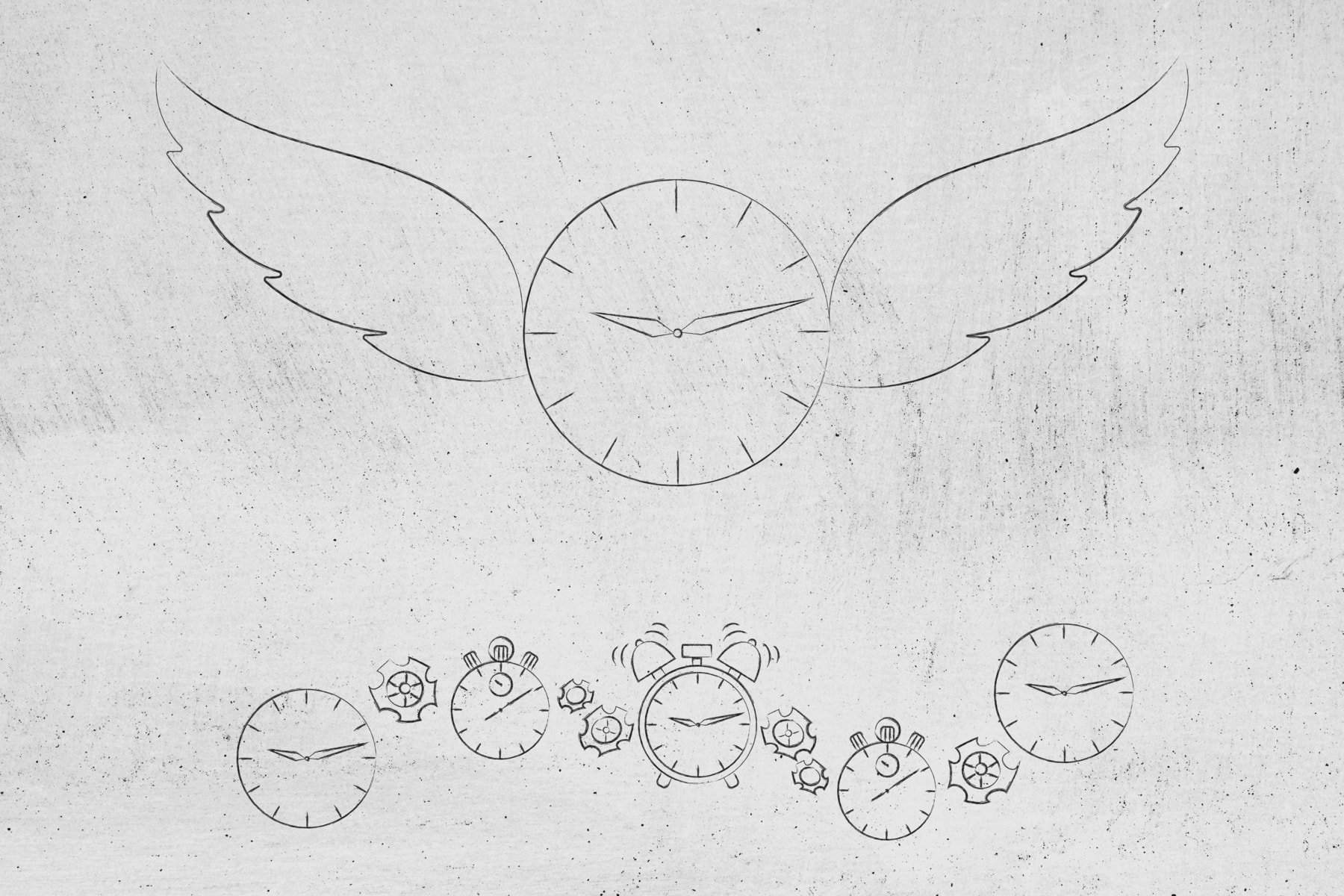 time flies conceptual illustration: clock with wings taking flight and group of others below it