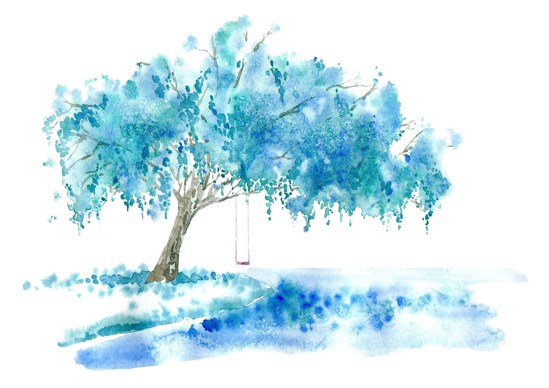 Weeping willow on the lake and swing. Blue tree. Watercolor hand drawn illustration.